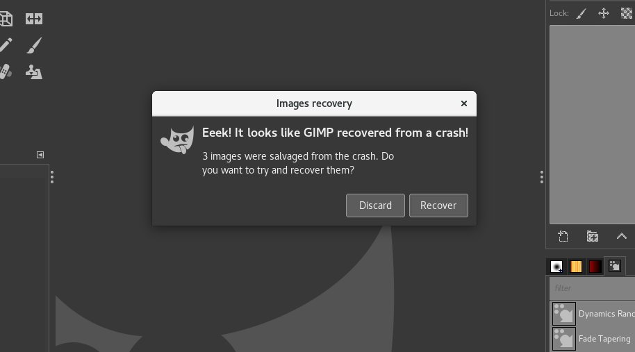 Crash recovery dialog
