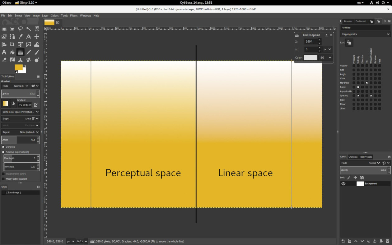 Gradient tool in linear space