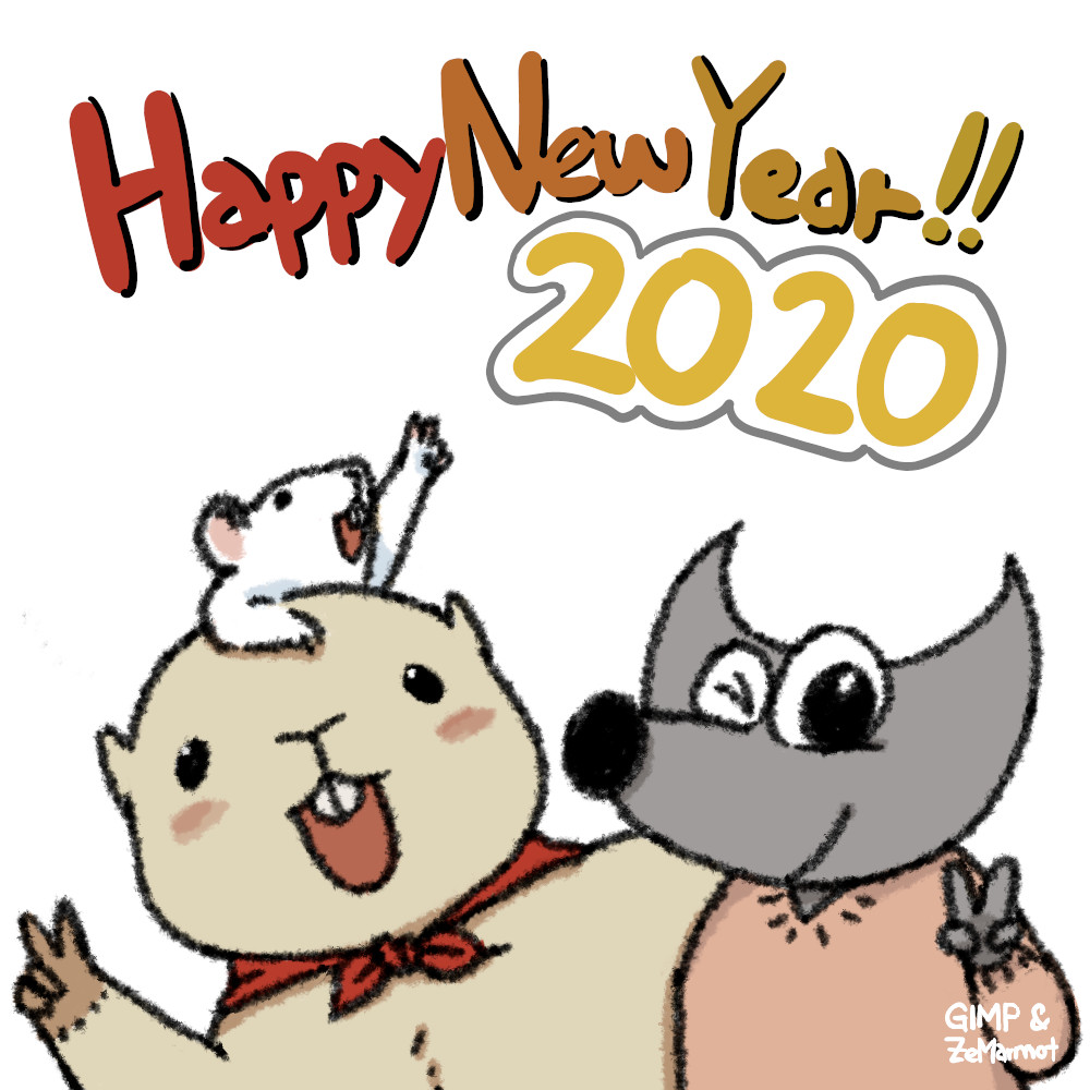 Happy New Year 2020 from GIMP and ZeMarmot, by Aryeom