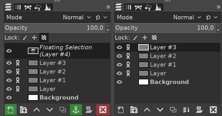 Consolidated UI for merging layers and anchoring floating selections
