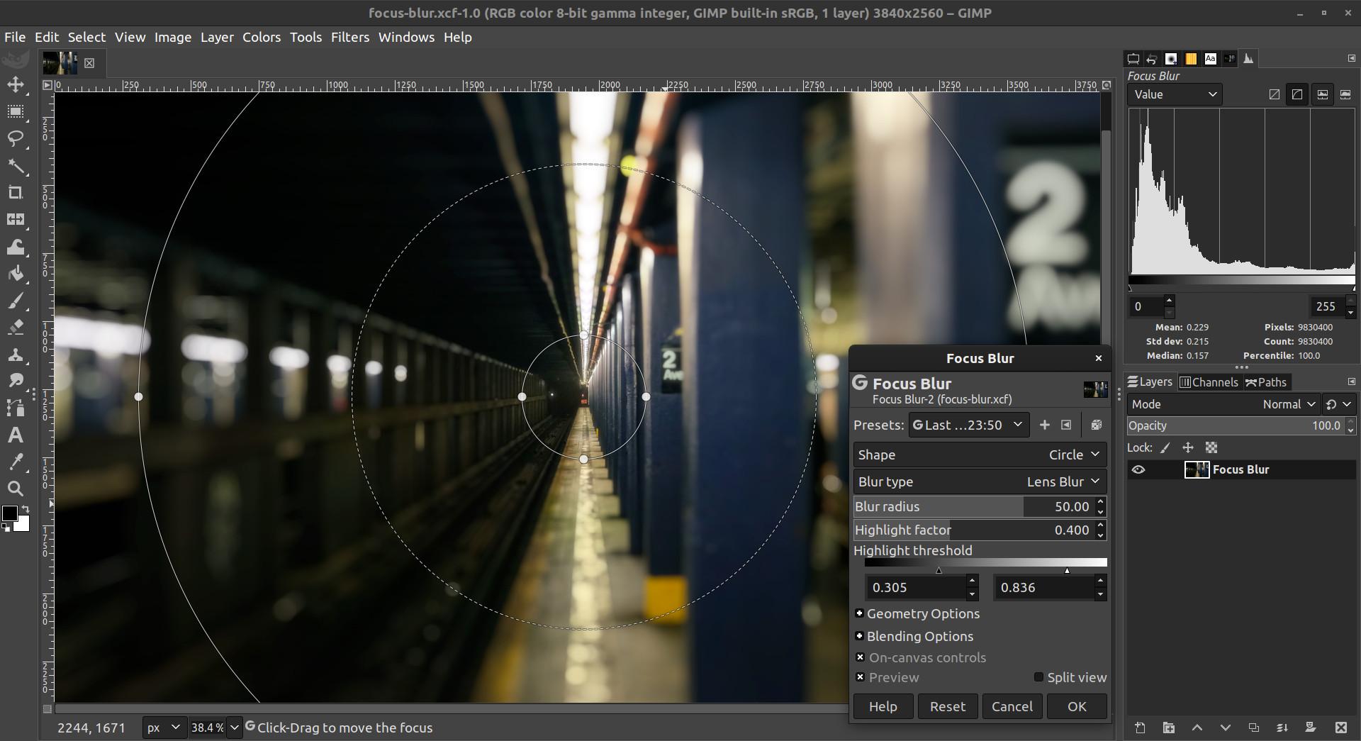 Focus Blur filter