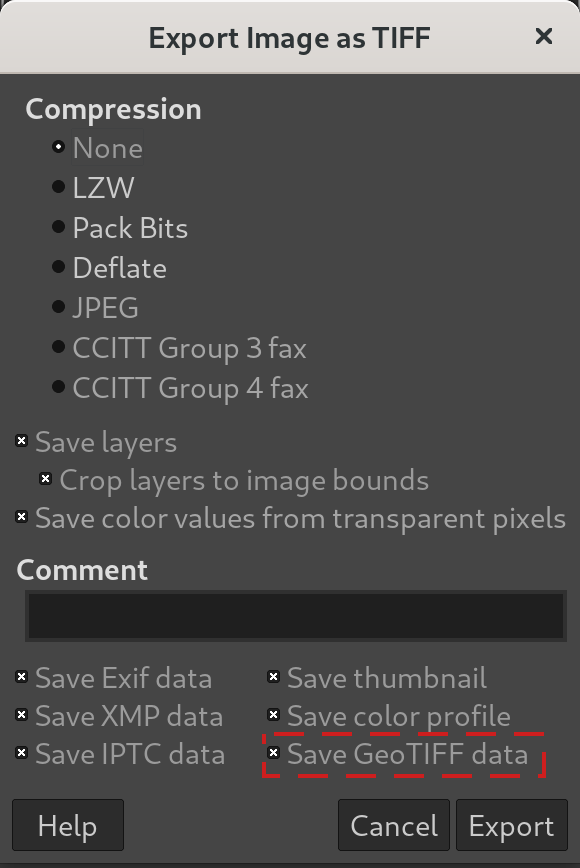 Save GeoTIFF metadata as imported - GIMP 2.10.24