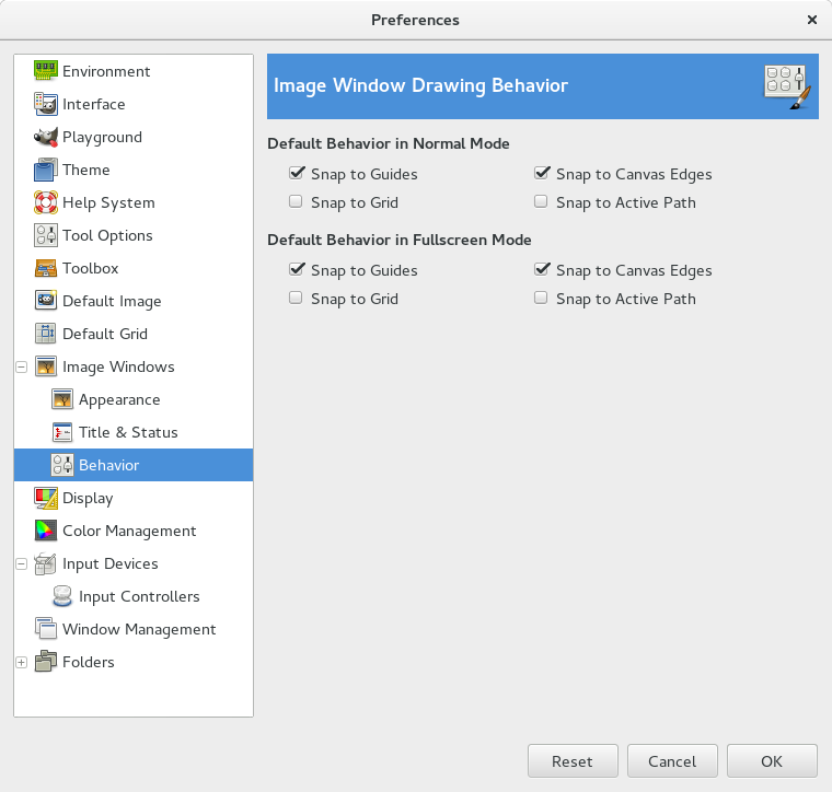 Behaviour page in the Preferences dialog