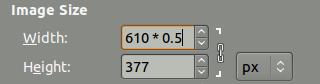 Math in size entries screenshot