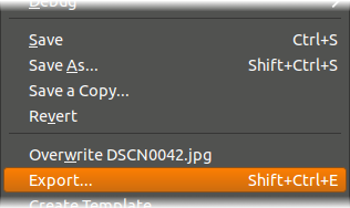 Save and export screenshot