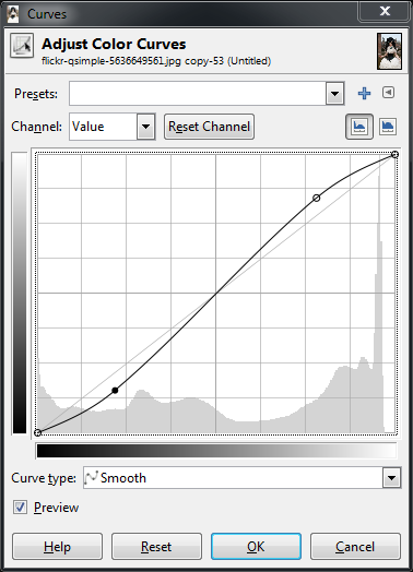 GIMP Base Curves Dialog S shaped curve