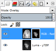 GIMP Layer Palette with layer mask