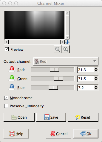 GIMP Channel mixer luminosity values